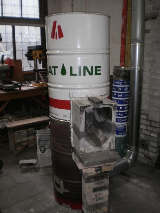 Batch rocket shop heater, second barrel